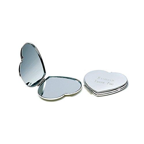 Trauzeugin Geschenk Herzspiegel mit Gravur Beste Trauzeugin - Silberner Taschenspiegel in Herzform