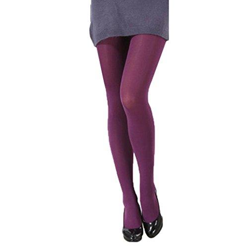 mpfhosen Frauen Reizvolle Autumn Burnish Opaque Strumpfhosen Candy Farbe Leggings Strumpfhosen Trampel (Lila, One Size) (Grün Und Lila Gestreiften Strumpfhosen)