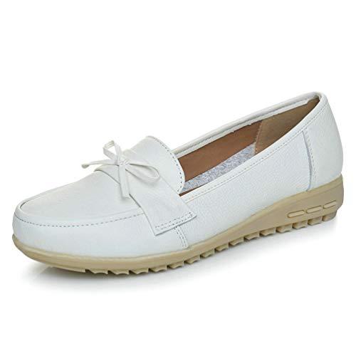 Heels Müßiggänger Weibliche Alte Mutter Lässig Slip On Cow Leder Bogen Runde Kappe Frühlingsherbst Weiß Schuhe ()
