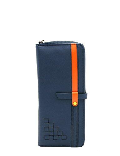 Menkai borsa donna cerniera portafoglio intorno al disegno geometrico nero 766W2 pelle sintetica Dark Blue