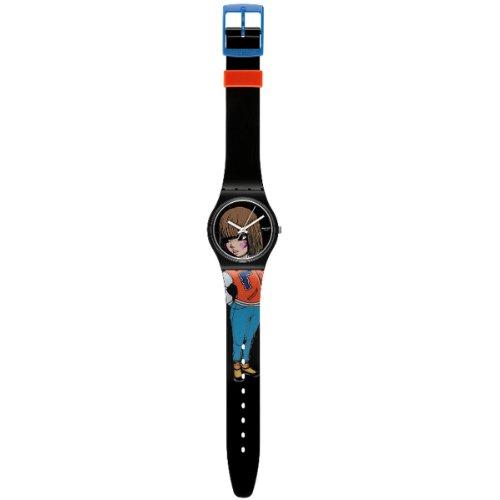 Swatch Mädchen-Armbanduhr Analog Quarz Plastik GZ274