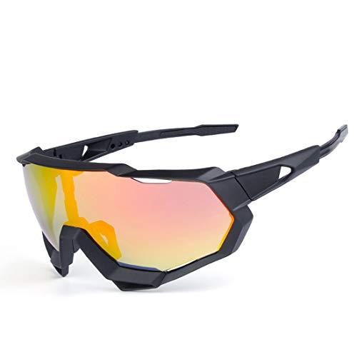ZJXHAO Radgläser, polarisierte Sportsonnenbrille mit 3 austauschbaren Objektive UV-Schutz Unbreakable Driving Running Wandern Golf Baseball Fishing Biking-Gläser für Männer Frauen,A4
