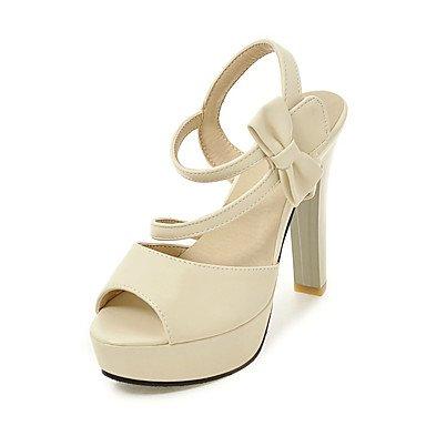 Sandales femmes Été Automne Chaussures Club Bureau PU & Carrière Partie & Tenue de soirée Bowknot talon aiguille Crochet et boucle Beige