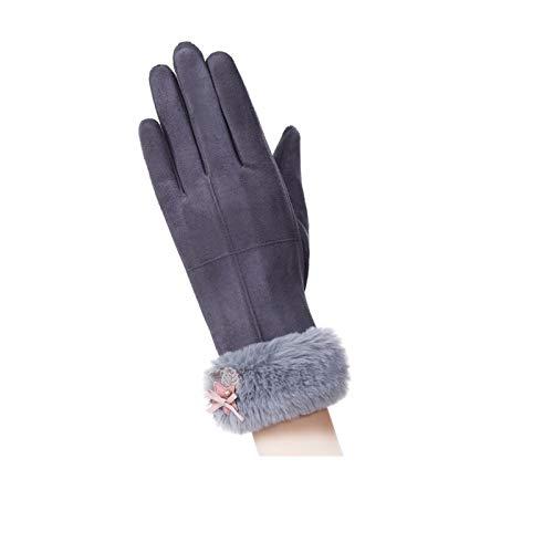 Anyeda Damen Wasserdichte Handschuhe Kinder 5 Jahre Nylon Taslon Touchscreen-Handschuhe Bow Velvet Gloves Winter Warm Einheitsgröße Grau Handschuhe