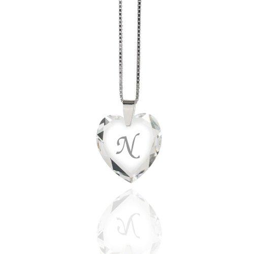 Damen Halskette 925 Sterling Silber mit SWAROVSKI ELEMENTS Herz Crystal Buchstabe