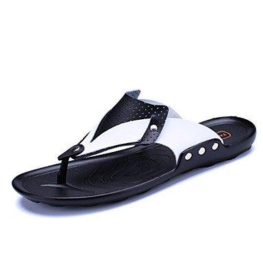 Hommes sandales Semelles PU Lumière Bureau Printemps Été &AMP; Carrière Casual Talon plat Bleu Jaune Noir Télévision Black