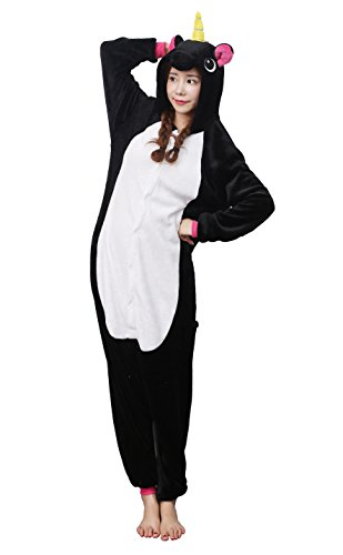 �m Jumpsuit Tier Overall Fleece Schlafanzug Unisex Fasching Cosplay Karneval Black M (Men In Black Kostüme Für Kinder)