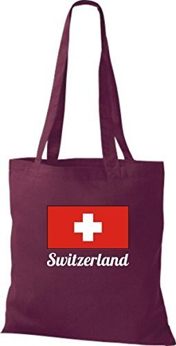 ShirtInStyle Stoffbeutel Baumwolltasche Länderjute Switzerland Schweiz Farbe Pink weinrot