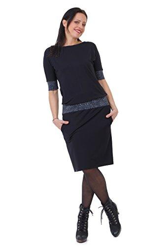 3Elfen Sommerkleid schwarz Damen Fledermaus Kleid Sommer Marke locker Knielang Langer Rock - dunkelornament M