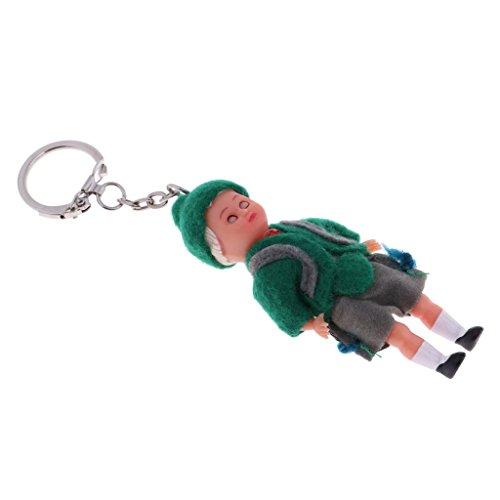 (Homyl 3 Zoll Nationalität Minipuppe Kostüm Puppe mit Ethnische Kleidung Souvenir Anhänger Schlüsselanhänger - D)