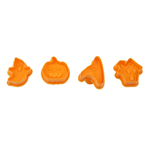 Garispace 4 stücke halloween stil gedrückt stereo keks ausschnitt backen diy keks werkzeug kuchenform backen liefert(Gelb)