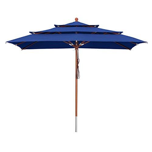 anndora Sonnenschirm 3-lagig 300 x 300 cm eckig Gartenschirm - Blau