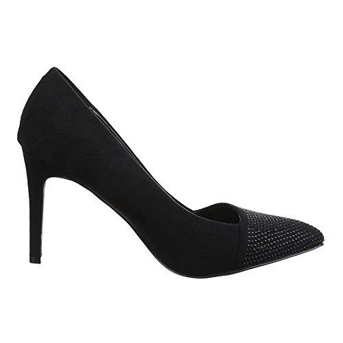 Damen Schuhe, B2029-PB, PUMPS STRASSBESETZTE HIGH HEELS Schwarz