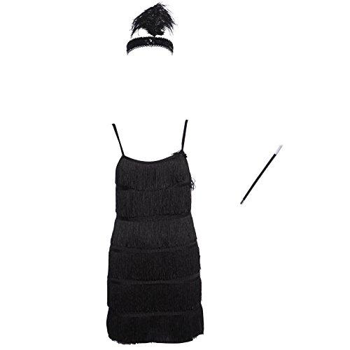 Kleider Fransenkleid Tanzkleid Partykleid Charleston Kostuem mit Zigarrettenhalter Kopfband (Männer Flapper Kostüm)