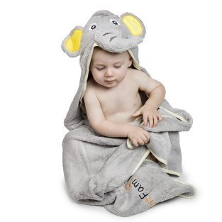 Elephant Hooded Baby Towel, Natural Cotton, Luxurious Soft, Super Large Size 90 x 90 cm