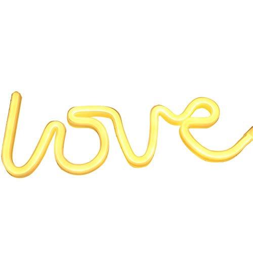 Mirabellini LED Neon White und gelb Love Zeichen, USB Art dekoratives Licht Nachtlicht, batteriebetriebene Wandkunst, Schlafzimmer Dekorationen, Party, 35,5 2 13 cm / 13,98 0,79 5,12 Zoll - Neon-licht Zeichen