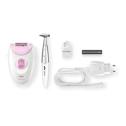 Braun Silk-épil 3 3-321 – Depiladora para mujer con rodillos de masaje y recortadora para la línea del bikini, blanco/rosa