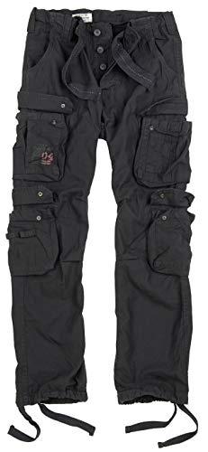 Surplus Raw Vintage Airborne Trousers Herren Cargo Hose, Schwarz, L