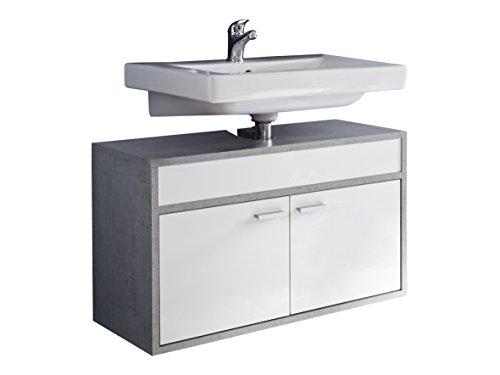 Trendteam Waschbeckenunterschrank hängend, Weiß, Glanz
