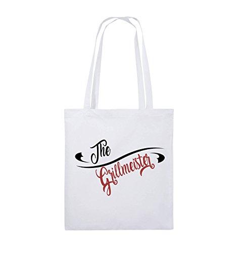Comedy Bags - The Grillmeister - Jutebeutel - lange Henkel - 38x42cm - Farbe: Schwarz / Weiss-Neongrün Weiss / Schwarz-Rot