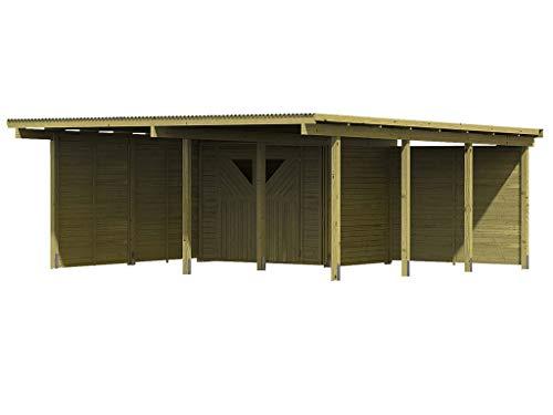 KARIBU. Doppelcarport ECO 2 mit kleinem Abstellraum und 2 Seitenwänden 1 Rückwand