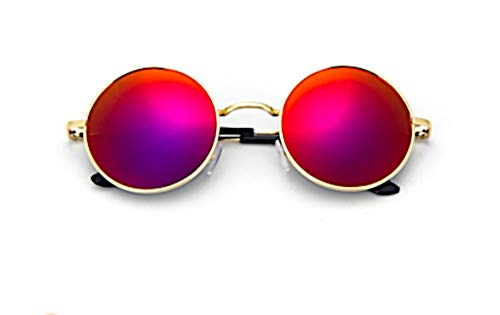 Chic-Net Sonnenbrille Unisex Rund Hippie Brille John Lennon getönt 400UV Silber Lila getönt