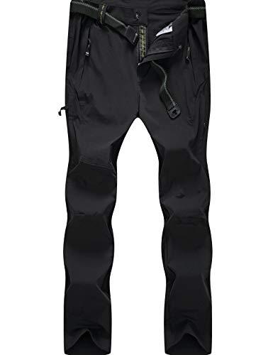 KOUDYEN Herren Outdoorhose Atmungsaktiv Schnelltrocknend Cargo Wanderhose Trekkinghose,KZM9917A-Black-L -