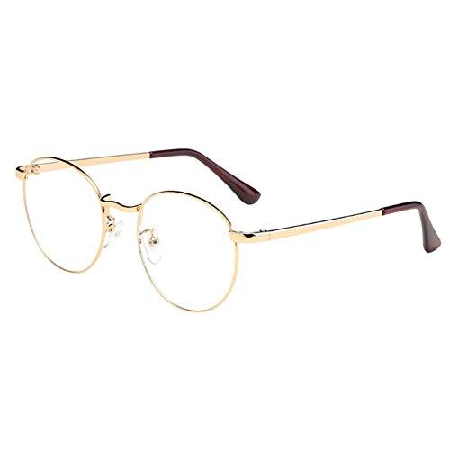 Zhuhaixmy Unisex Klassisch Metall Runden Felge Komfortabel Brille Kurzsichtig Kurzsichtigkeit Brillen Harz Löschen Linsen (Stärke -1.0, Gold) (Diese sind nicht Lesen Brille)