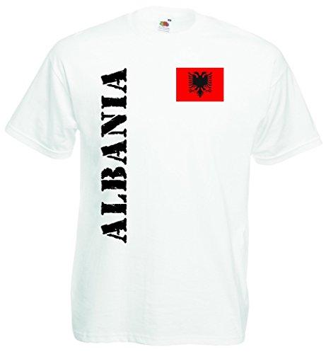 World-of-Shirt Herren T-Shirt Albanien EM 2016 Trikot Fanshirt|Weiss-XL