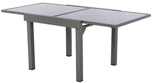 PEGANE Table Extensible en Aluminium Coloris Mastic - Dim : L 90/180 x P 90 x H 75cm