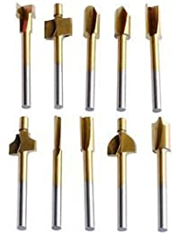 "Tradico® TradicoBrand New New 10Pcs Titanium Mini Hss Router Bits Trimmer 1/8"" 3mm Shank For Rotary Tool"