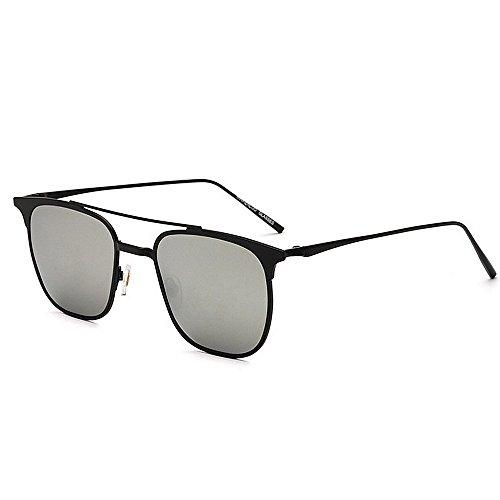 Y-WEIFENG Persönlichkeit Katzenaugen-Stil Männer Fahren Sonnenbrillen Metall umrandeten polarisierten UV-Schutz Sonnenbrillen (Farbe : Silber)