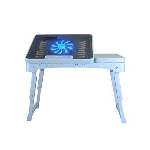 NBgy Side table Klapptisch, Laptopständer, Tragbarer Tisch, Laptop-Betttisch, Medizinischer Tisch Mit Lüfter, 2 Farben, 53 * 27,5 * (24-37,5) Cm (Farbe : Blau und weiß)