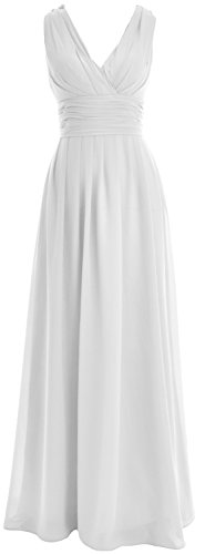 MACloth Women V neck Chiffon Long Bridesmaid Dress Wedding Party Formal Gown Weiß