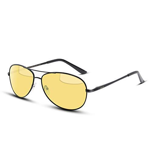 LZXC Polarisierte klassische Flieger-Sonnenbrille Nachtsicht-Fahren Sport Eyewear Unzerbrechliches ultra-Helles metallisches graues Feld HD gelbes Objektiv