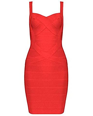 Whoinshop Frauen Rayon Nettes Sleeveless Bodycon Verband-B¨¹gel-Kleid rot S