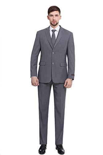 P&L Herren Premium Slim Fit 3-teiliges Anzug Blazer Jacke Tux Weste & Flache Hose Set - grau - 56 Kurz/ 40W -