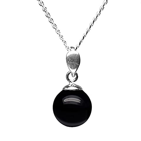10mm Genuine Black Onyx Bead / Ball 925 Sterling Silver Pendant + 45 Cms Chain / Necklace