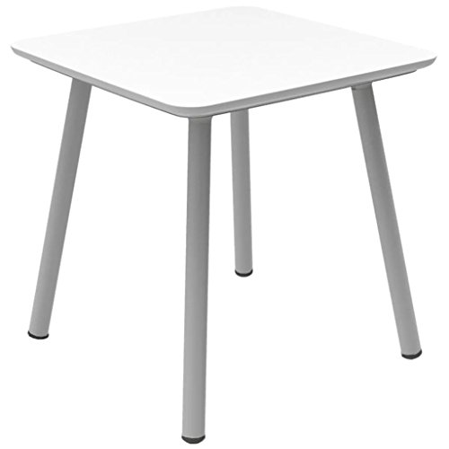 Guéridon résine JULIEN plateau blanc/pieds blancs, 70 x 70 cm-