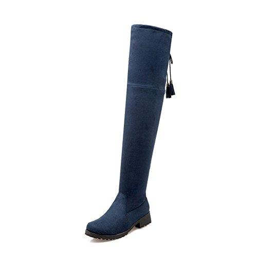 VogueZone009 Donna Puro Tacco Basso Punta Tonda Pelle Di Mucca Allacciare Stivali Azzurro