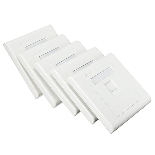 ZCHXD Keystone Jack Wall Plates Cat5E Cat6 Ethernet RJ45 Face Plate Sockets Single Port White (5pcs Flush) Keystone-port-wall Plate