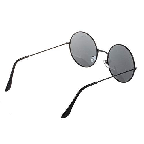 JYTDSA Trendy Männer Frauen Metallrahmen Schwarze Linse Runde Sonnenbrille Brille Brillen