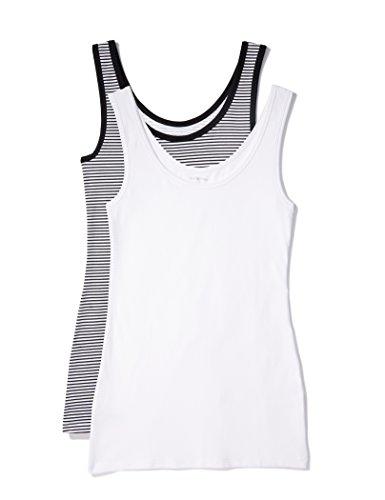 Iris & Lilly Unterhemd Damen aus Baumwoll-Jersey mit U-Ausschnitt, 2er Pack, Mehrfarbig (Weiß, Schwarz/Weiß gestreift), Large -