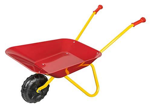 Idena 7131707 Metallschubkarre für Kinder ab 24 Monaten in rot gelb, ca. 78 x 40 x 38 cm, ideal für Garten und Sandkasten