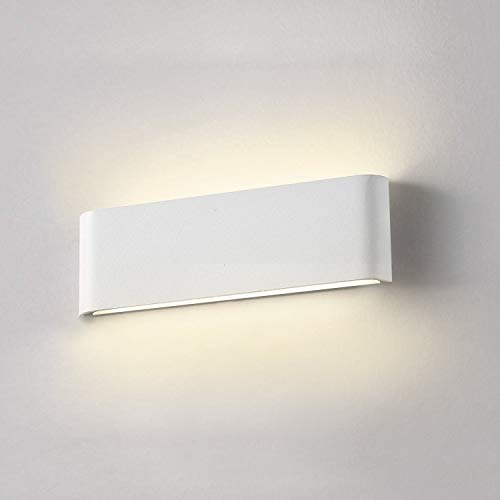 Apliques Pared Interior Blanco, Wowatt Lámpara de Pared Moderna LED 12W 220V Apliques LED 2800K Blanco Cálido Aluminio 960LM Luz de Decoración para Salón Dormitorio Sala Pasillo Escalera 30 CM
