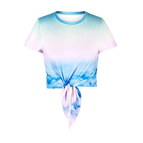 Damen Strappy T-Shirt, LeeMon Mode Frauen Printed Verband Kurzarm Oansatz T-Shirt Lässige ()