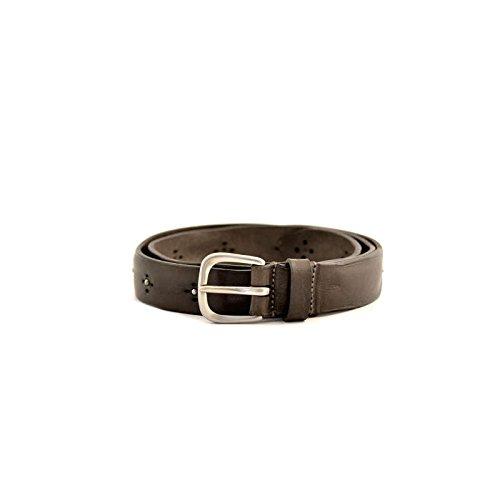 Cintura Fabrizio Mancini da uomo in pelle marrone (fango) con particolari borchie applicate, scatola regalo e fibbia in acciaio. Prodotto interamente made in Italy