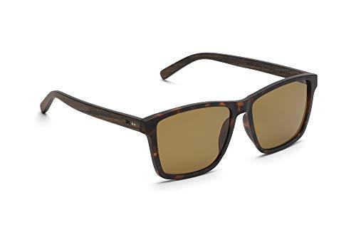 TAKE A SHOT - Große eckige Holz-Sonnenbrille Herren, Holz-Bügeln und Kunststoff-Rahmen, UV400 Schutz, rückentspiegelte Gläser - Ronja