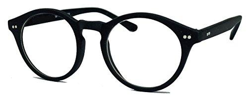 50er Jahre Nerd Brille Vintage Look Streberbrille Rockabilly runde Hornbrille clear lens N1554 (51 matt schwarz)