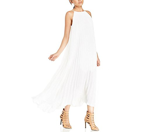 Purpura Erizo Femme Robe Longue A Froncé Poche Large Mousseline Aérienne Blanc